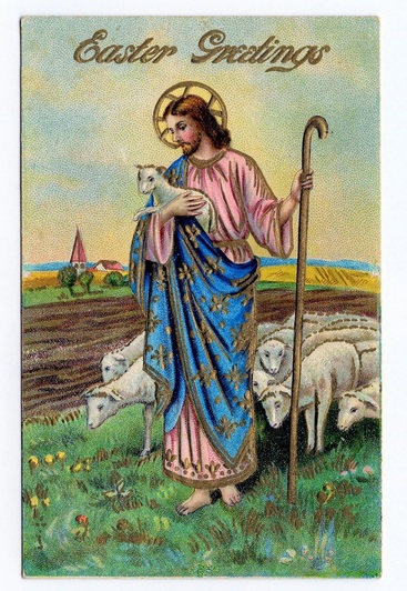 Vintage Easter Greeting Jesus with lamb and sheep