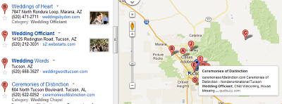 Google map with pins