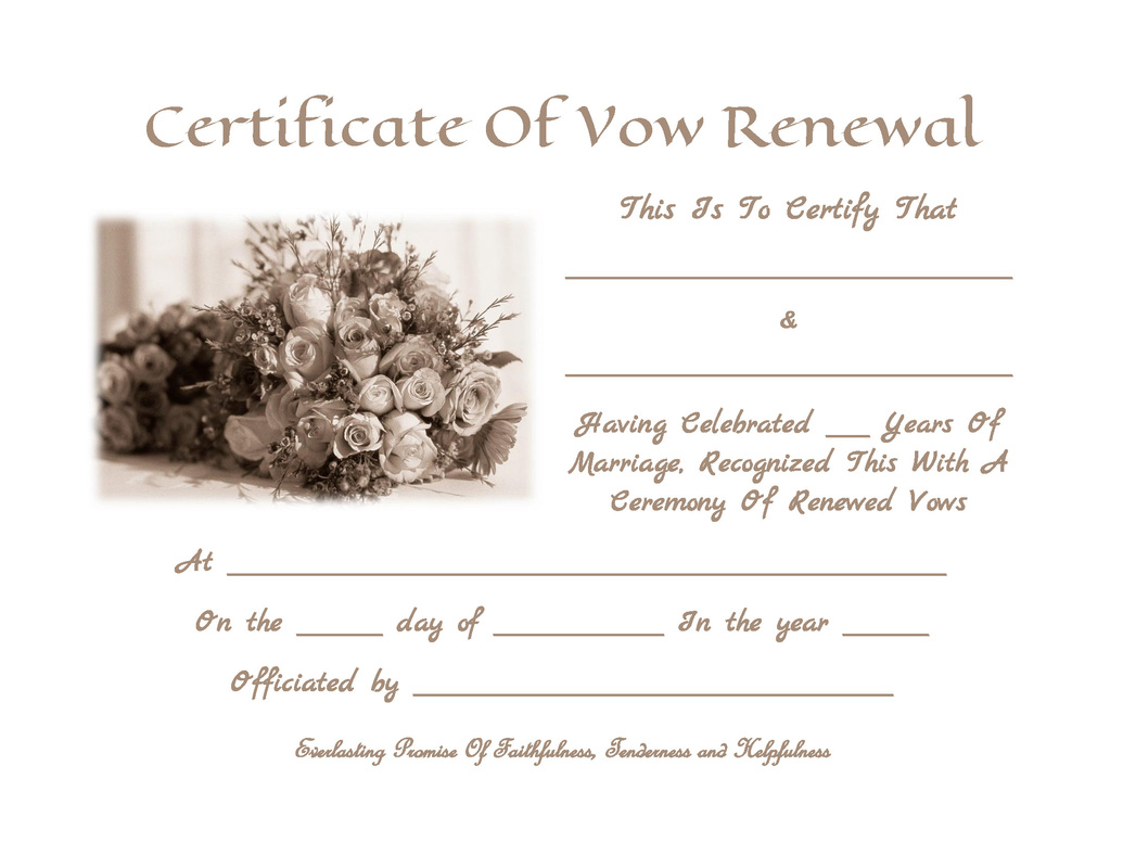 Vow Renewal Certificate Template