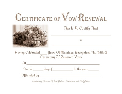 Certificate Of Vow Renewal